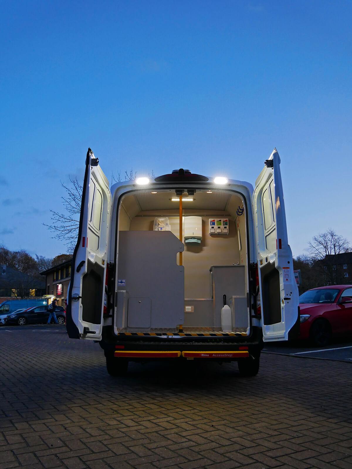 SM UK Welfare unit van rear view
